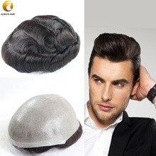 6 inch Super Thin Skin Toupee 100% Hair Density Indian Human Hair Wigs Man Free Style Ultra thin Skin Male Toupee Wig