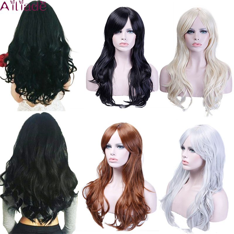 AILIADE Long Wavy Wig Cosplay Synthetic White Black Natural Hair Wigs For Women High Temperature Fiber Female Daily False Hair