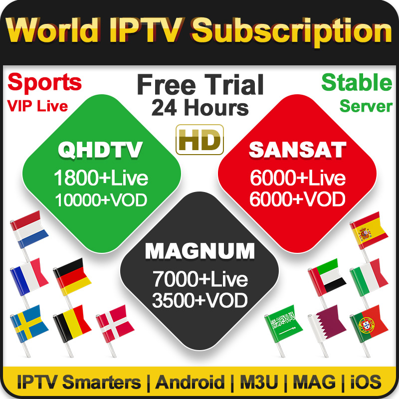 IPTV Reseller Panel French Arabic Netherland Spain One Year QHDTV/Sansat/Magnum  Iptv Subscription Reseller Panel