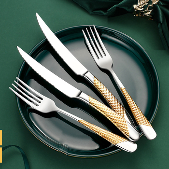 Home Tableware Cutlery Set Golden Cutlery Stainless Steel Dinnerware Set Silverware Cutlery Complete Fork Spoons Knives Set