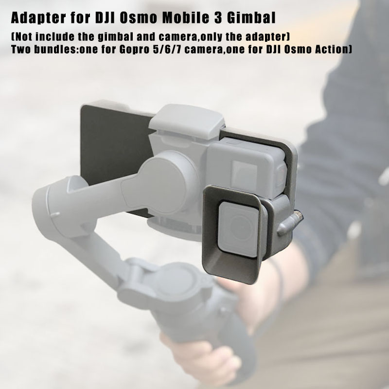 Yifant Gimbal Adapter Mount Kit for DJI OSMO Mobile 3 Transfer to OSMO Action Camera Stabilizer Accessories Plate Bracket with 120g Counterweights and Lens Hood