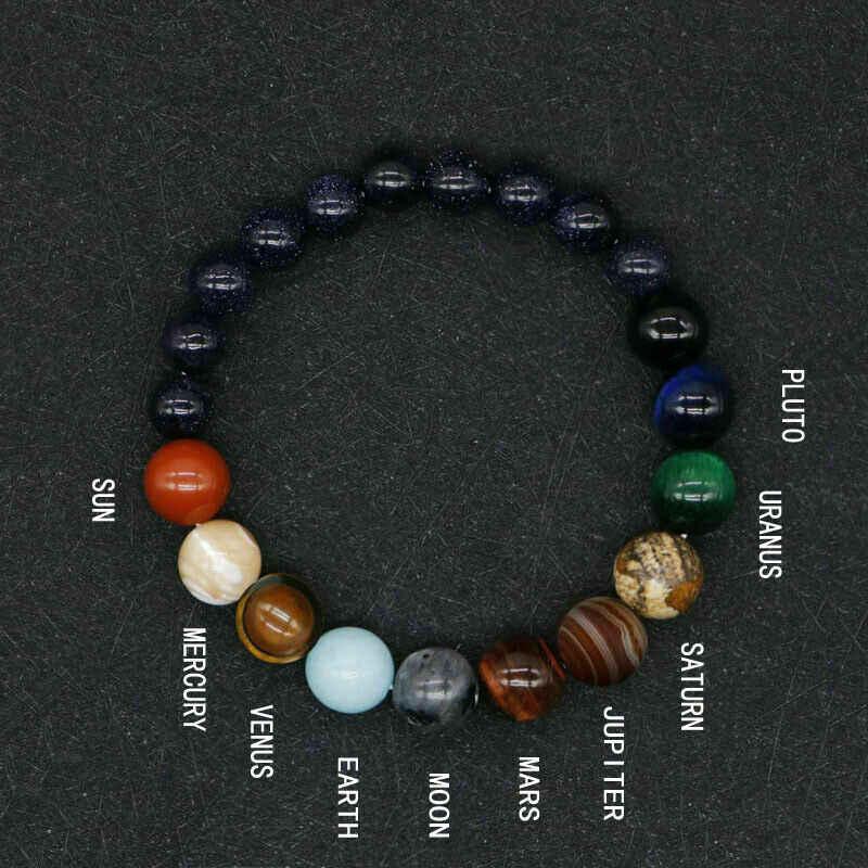 2019 חדש לגמרי סגנון שמונה כוכבי לכת חרוז צמיד גברים טבעי אבן יקום צ 'אקרת שמש צמיד מתנה