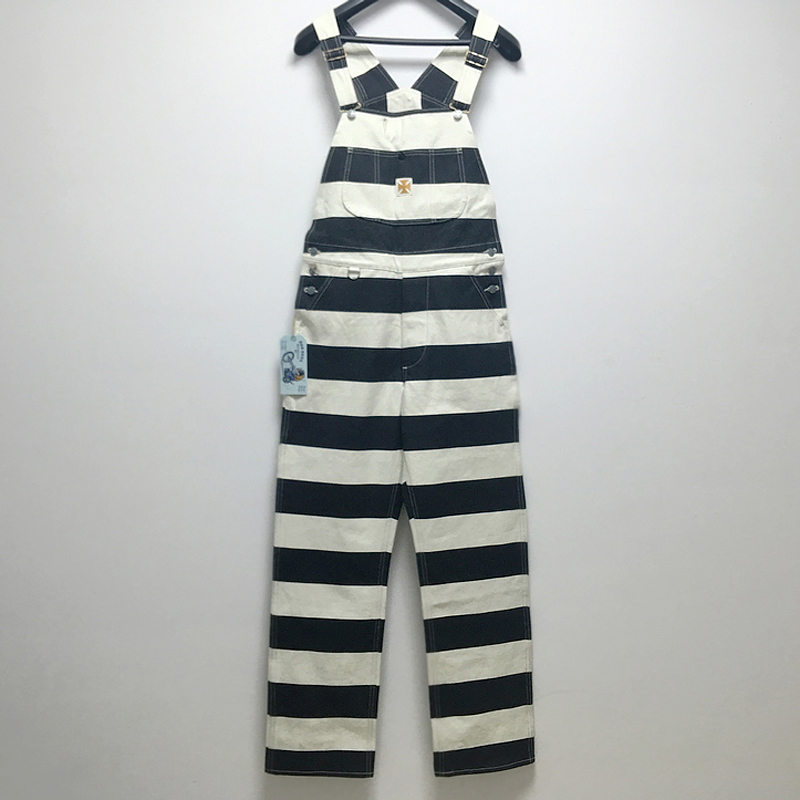 BOB DONG Prisoner Striped Overalls Vintage Men's Motorcycle Biker Racing Pants
