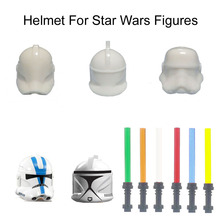 Unprinted-Helmet Brick Crash-Helmets-Accessory Lightsaber Space-Wars-Figure-Weapon Hat