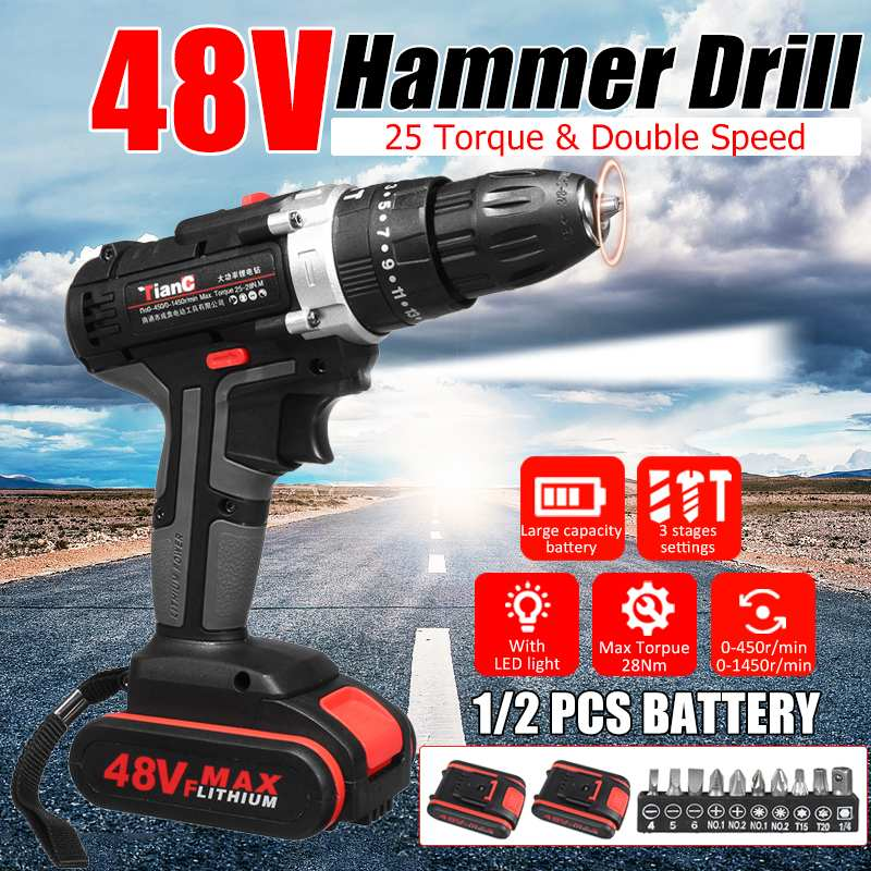 48V Multifunctional Cordless Rechargeable Electric Impact Drill Screwdriver Hammer Power Tools With LED Lighting For Home Car