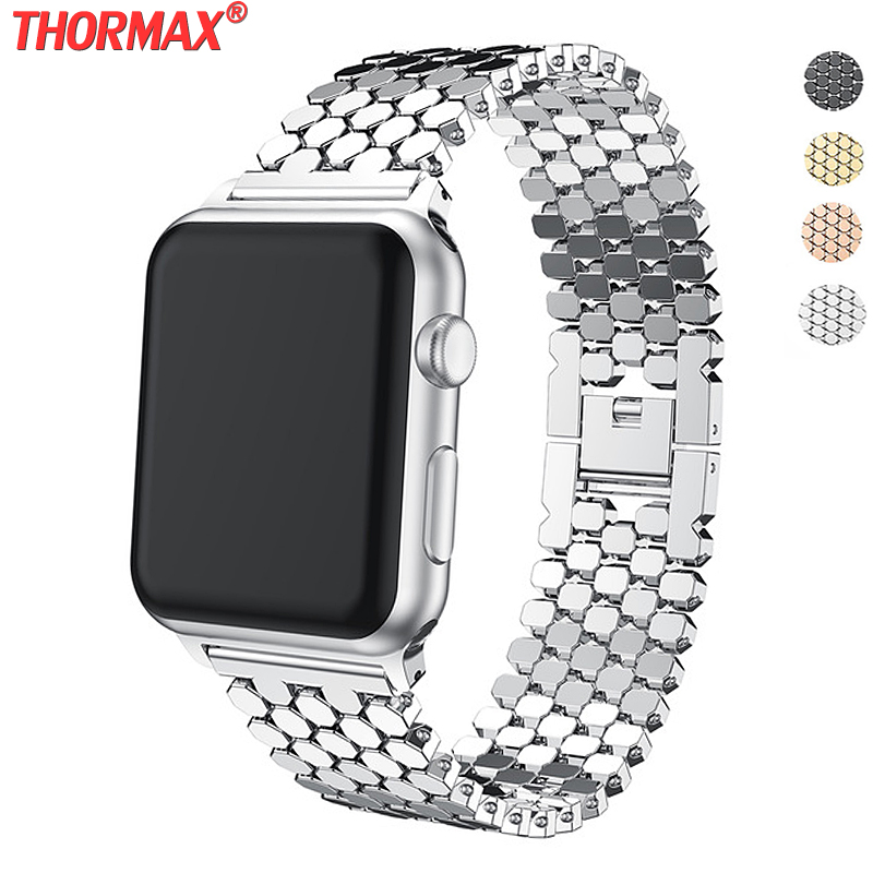 Stainless Steel Strap For Apple Watch Band 42mm 38mm 40mm 44mm Bracelet Watch Band For Iwatch 5 Bands Series 5 4 3 2 Gold Black