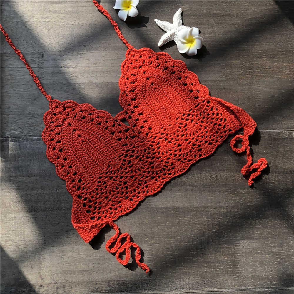 2020 nowe trójkątne Bikini bluzki z dzianiny kobieta strój kąpielowy z wycięciem szydełka Bikini seksowny top pływanie biustonosz duże kobiece plażowe stroje kąpielowe