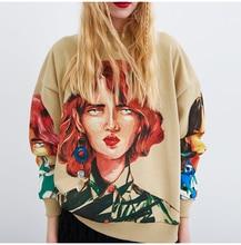 2019 streetwear character print women sweatshirt spring 2019 O-neck long sleeve pullover knitted oversized hoodie sweatshirts недорого