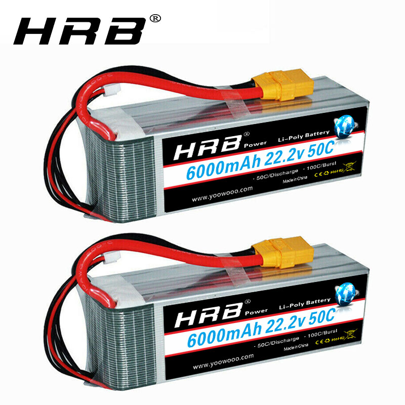 HRB 6S 22.2V 6000mah Lipo Battery 50C RC <font><b>Parts</b></font> with XT90 connector T plug for <font><b>700</b></font> 800 RC Helicopter Truck Airplane RC Car Boat image