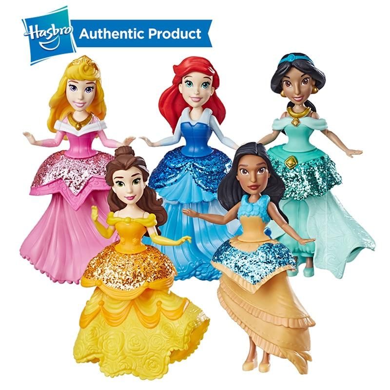 Hasbro disney princesa pequena boneca com clipes reais mulan belle cinderela ariel variedade de moda presente de aniversário menina brinquedo do miúdo