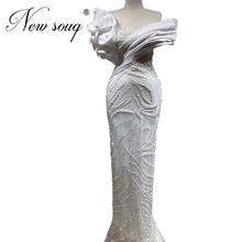 Bianco in rilievo Della Sirena Vestito Da Promenade Lungo Handmade Turco Robe De Soiree Più Nuovo Formale Abito Del Partito Arabia Saudita Abiti Da Sera Dubai