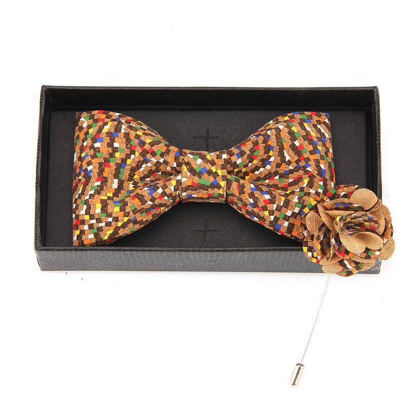 New Arrival Brooch Wood Bowtie Sets Marriage Groom Cork Wooden Bow Tie Floral Bowknots Wedding Christmas Neck Ties For Men