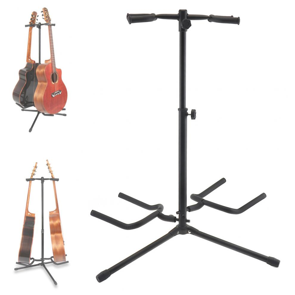 Double Holders Aluminum Alloy Floor Guitar Stand With Stable Tripod For Display 2pcs Acoustic Electric Guitar Bass Guitar Stand