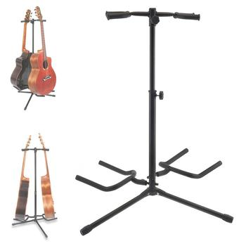 Double Holders Aluminum Alloy Floor Guitar Stand with Stable Tripod for Display 2pcs Acoustic Electric Guitar Bass guitar stand aluminum alloy floor guitar stand with stable tripod holder for acoustic electric guitar bass guitar stand