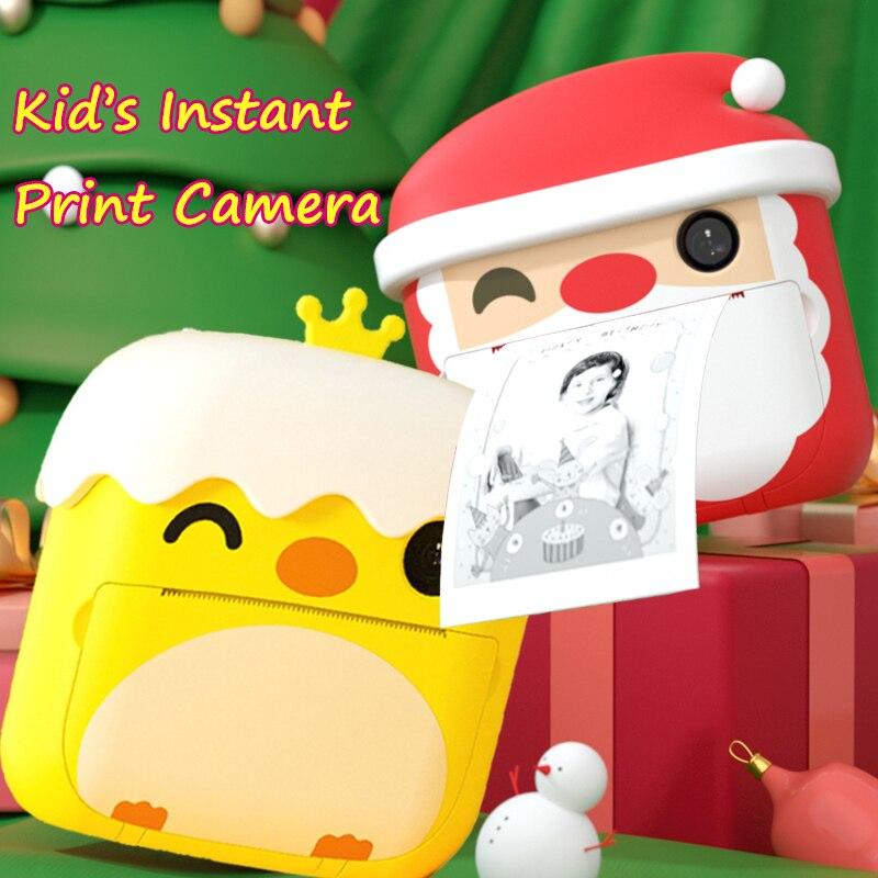 Детская фотокамера Мгновенной Печати, фотокамера 1080P HD, цифровая камера, игрушки для детей, двойной объектив с термобумагой, подарок для ребенка