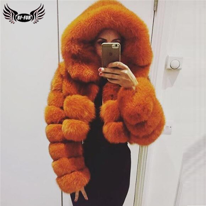 Fashion Hooded Fox Fur Coats For Women Winter Warm Real Fox Fur Jacket Short Genuine Leather Natural Fur Coats Woman Overcoat