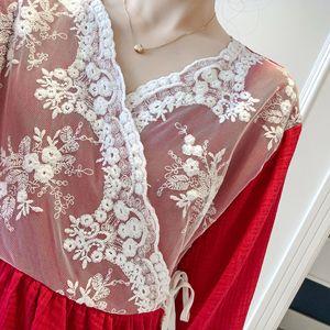 Image 3 - Patchwork dentelle mode femme coton mélange Kimono pyjamas ample à manches longues pantalon ensemble vêtements de nuit