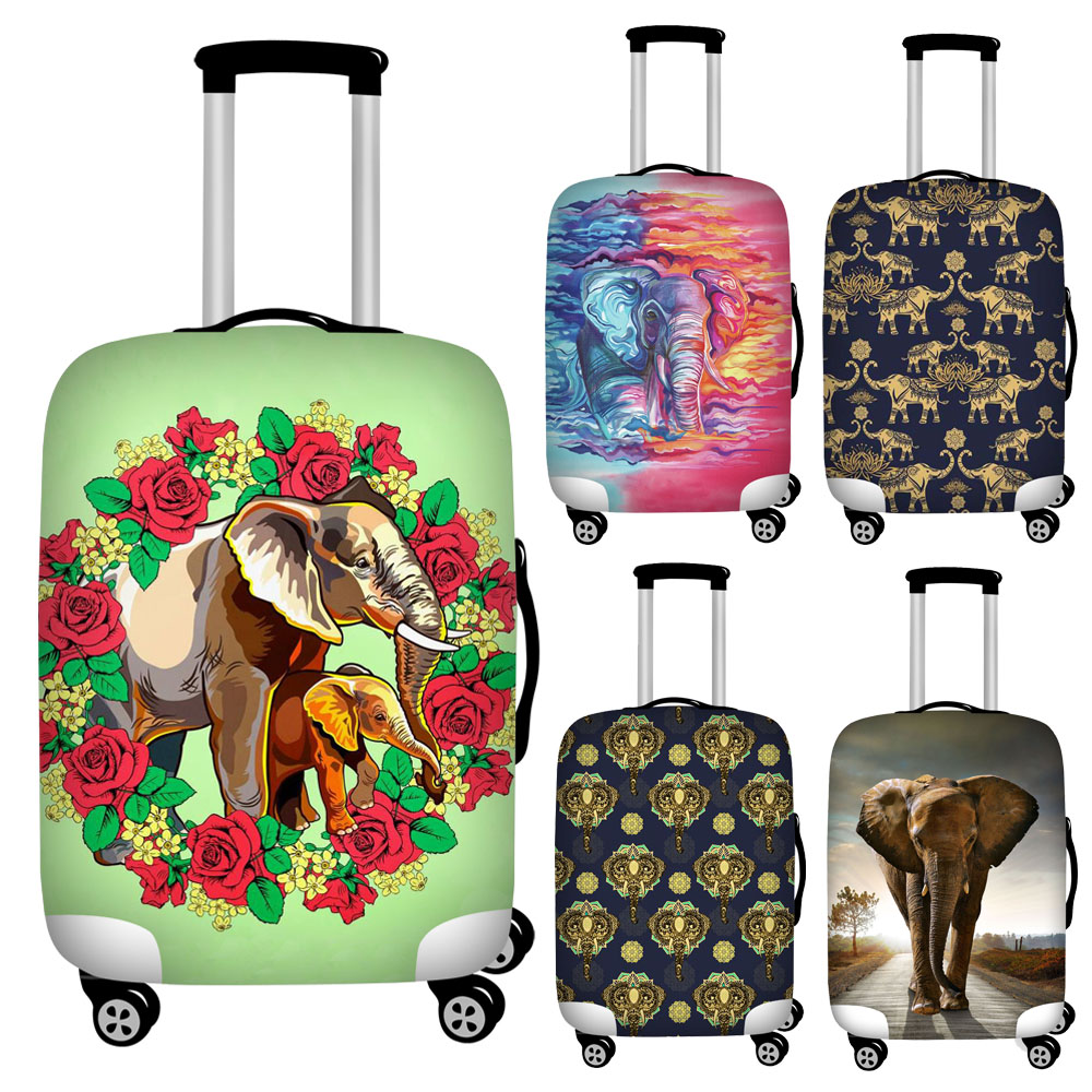Stylish Floral Elephant Print Luggage Covers For 18''-32inch Trolley Case Anti-dust Waterproof Travel Suitcase Cover Baggage