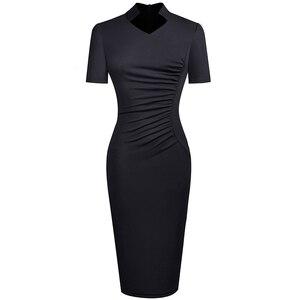 Image 4 - Nice forever Vintage Elegant Solid with V neckline vestidos Business Party Bodycon Slim Women Work Dress B579