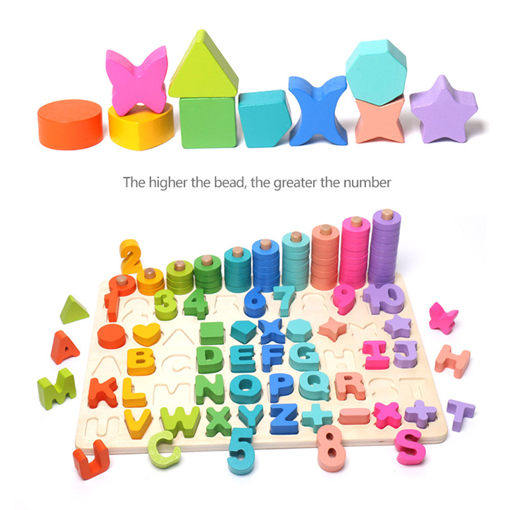 6 in 1 kids Wooden Montessori Toy Kids Math Count Letter Digital Cognitive Matching Baby Early Educational Teaching Math Toys