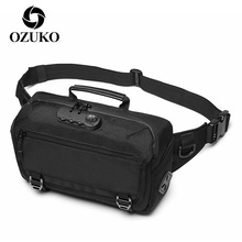 OZUKO Outdoor Sport Waist Bags for Men USB Charging Anti Theft Bagback Waterproof Large Capacity Chest Bag Male Phone Belt Pouch