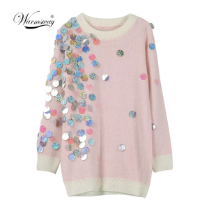Image 1 - Spring Beading Sequins Loose Knitted Long Sweaters Women 2020 Fashion Long Sleeve Ladies Thin Pullovers Casual Jersey C 058