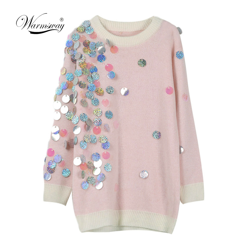 Spring Beading Sequins Loose Knitted Long Sweaters Women 2020 Fashion Long Sleeve Ladies thin Pullovers Casual Jersey C 058Pullovers   -