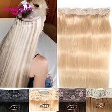 Clip In One Piece Human Hair Extensions Straight Brazilian Light Dark Brown #1#1B #4 #8 #613 Blonde #27 #32 Remy 80g 100g 120g