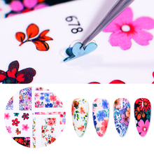 1 Sheet Colorful Girly Nail Sticker Flower Patterns Art Transfer Decals DIY Design 3D Decorations Stickers