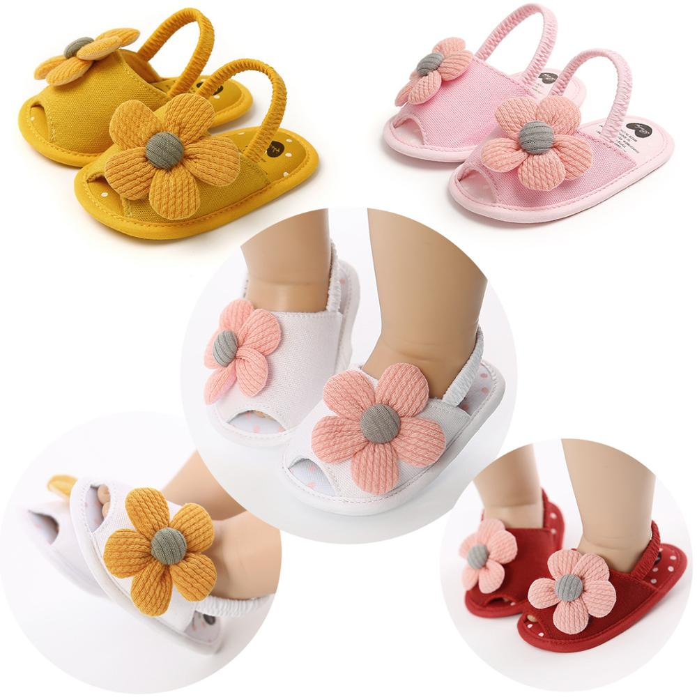 Summer Infant Baby Shoes Girl Flats Sandals Soft Sole Anti-Slip Flower Pure Crib Shoes Newborn First Walker Hot Sale