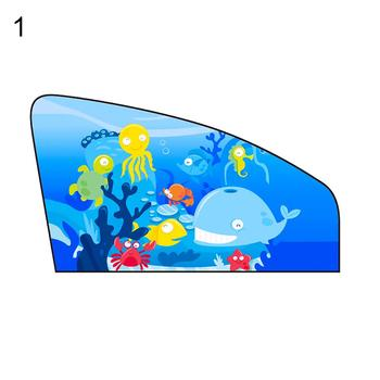 Cartoon Pattern Car Front Left Window Magnetic Anti-Sun Curtain Sunshade Cover image