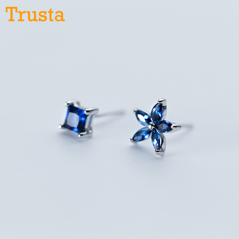 Trusta 100% 925 Solid Real Sterling Silver Women Jewelry Blue Asymmetric Flower Square CZ Stud Earrings For Daughter Girls DS330