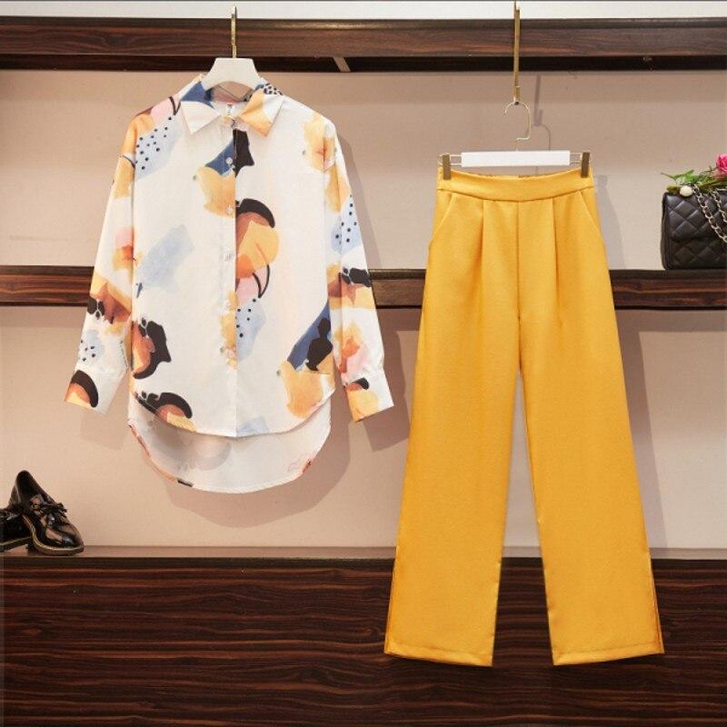 Two Piece Set For Women Chiffon Printing  Long Sleeve Shirts  + Yellow High Waist Wide Leg Pants Female Suit 2020 Spring Fashion