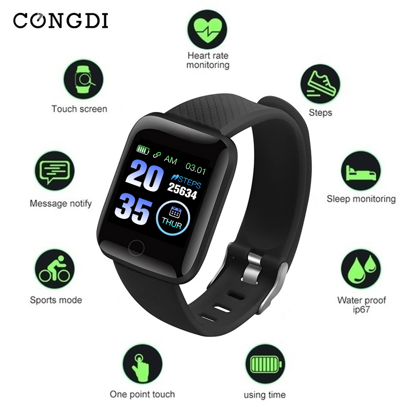 CONGDI  116plus Smart Watch  Blood Pressure Measurement Heart Rate Monitor Smart Bracelet  With 1.3 Inch High Resolution Screen