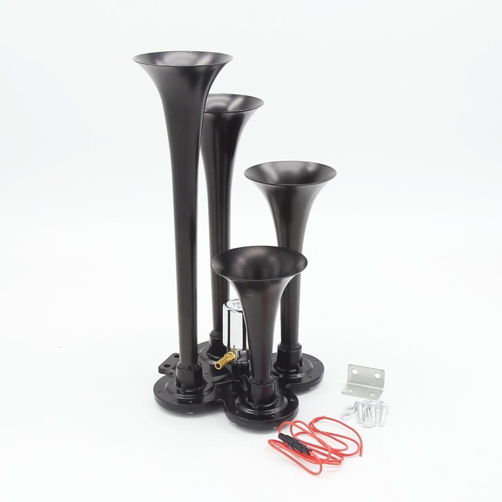Black Heavy Duty 4/Four Trumpet Train Air Horn for Superior Sound 150bd