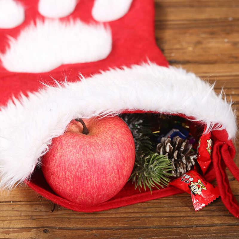 """Новогодний декор, плюшевый рождественский подарок, сумки для собак, кошек, носки """"лапки"""", Рождественская игрушка брелок с игрушкой, подарки"""