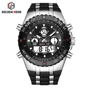 Image 5 - GOLDENHOUR Men Sport Watches Analog Digital Dual Display Man Fashion Outdoor Military Black Rubber Wristwatch Luminous Clock