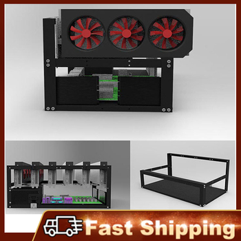 Stock available Steel Open Air Miner Mining Frame Rig Case Up to 6 GPU for Crypto Coin Currency Mining New 50x28.5x22.5cm 1