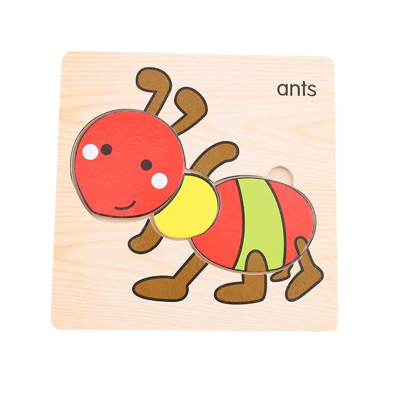 Let'S Make 1 шт. игрушки Монтессори квадратный деревянный пазл мультфильм Ранние развивающие детские игрушки деревянный пазл, игрушки - Цвет: 14