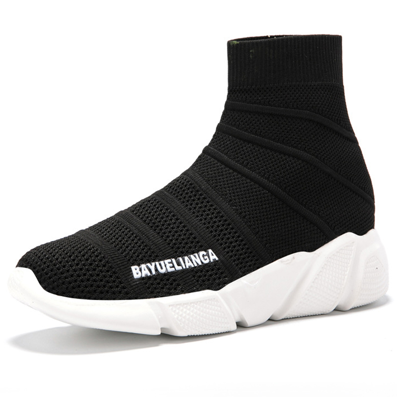 Women Running Shoes 2019 Summer Black Hollow Out High Top Sock Sneakers For Men Women Elasticity Mesh Breathable Sports Shoes