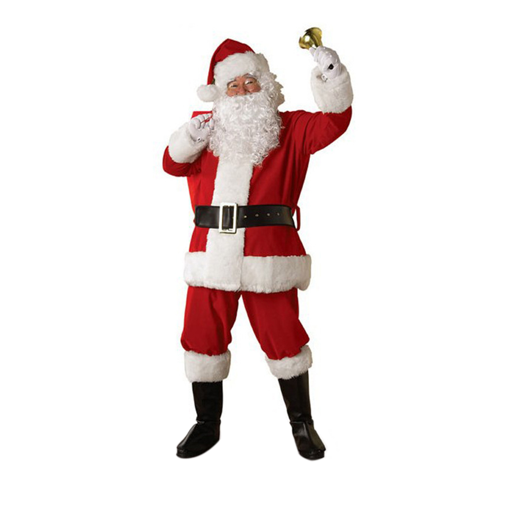 Christmas Clothes Set For Men Women Cosplay Santa Claus Suit Pant Hat Beard Belt Festive Costume