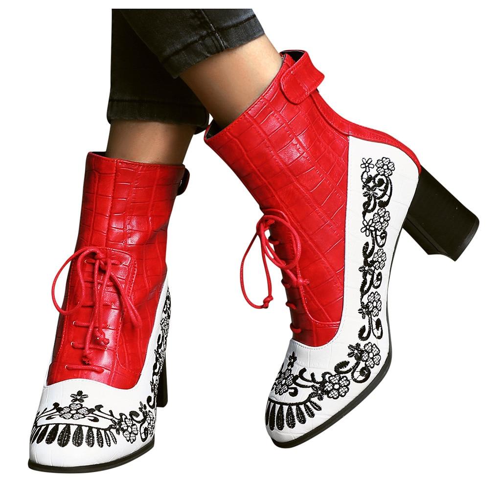 Bottes créatives femmes automne hiver 2019 mode femmes Chaussures fleurs brodées Chaussures à lacets Zipper Chaussures femmes Chaussures Femme