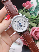 Luxury Brand New Men Watch Stainless Steel Sapphire Glass Back Automatic Mechanical Brown Blue Leather Daydate MoonPhase GMT AAA