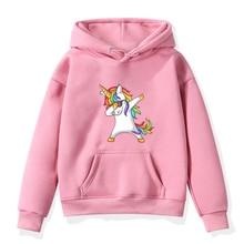 Boys Girls Hoodies Clothes Children Winter Thick Sweatshirts Unicorn Print Toddler Casual hoodie Kids Plus Velvet Tops Costume