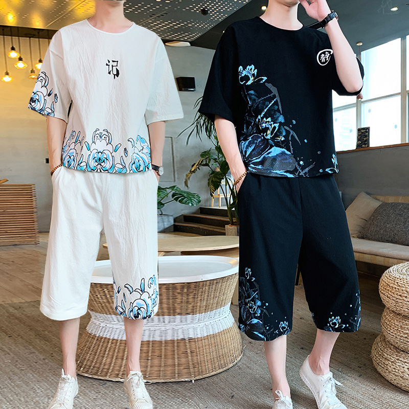 Summer Men Chinese-style Cotton Linen Fat National Trends Shorts Loose-Fit Pants Plus-sized Short Sleeve T-shirt Suit