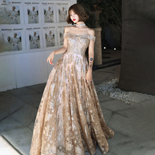 Sequins Evening Dress Boat Neck A-Line Lace Up Elegant Empire  Off The Shoulder New Floor-Length Woman Formal Party Gowns A867