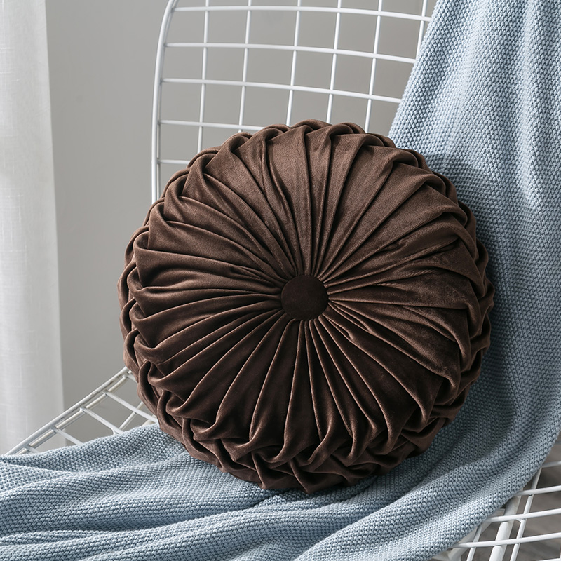 Newest-Home-Textile-Velvet-Pleated-Round-Solid-Color-Cushion-Pouf-Throw-Home-Soft-Cushion 9