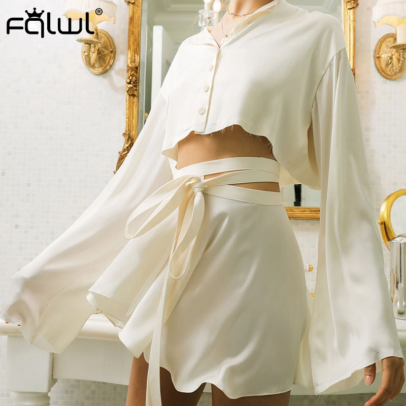 FQLWL Casual Black White Sexy Satin Skirts Womens Ruffles Bandage High Waist Summer Beach Skirt Ladies Bodycon Mini Skirt Female image