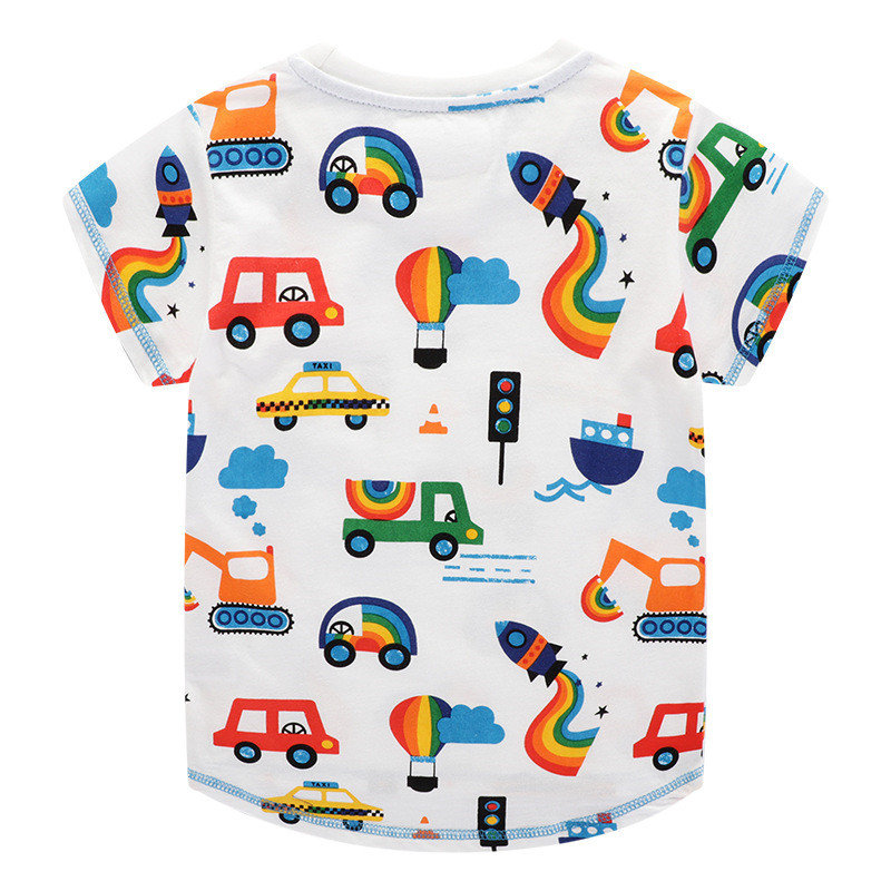 Jumping meters New 2020 Cartoon Boys Girls Tees for Summer 100% Cotton Baby Clothing Short Sleeve T shirts Cute Rockets Print 5