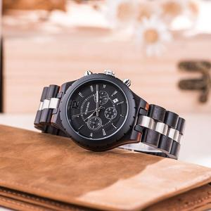Image 3 - Bobo Vogel Mannen Horloges Luxe Elegante Houten Metalen Chronograph Auto Datum Horloge Relojes Hombre 2020 Vaderdag Dropshipping Gift